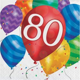 Balloon Blast Lunch Napkins, 2-Ply, 80th Birthday