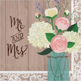 Rustic Wedding Lunch Napkins, 3-Ply, Mr. and Mrs.