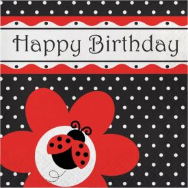 Ladybug Fancy Lunch Napkins, 3-Ply, Happy Birthday