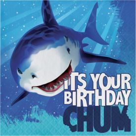 Shark Splash Lunch Napkins, 3-Ply, Happy Birthday