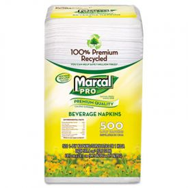 Marcal® PRO; 100% Recycled Beverage Napkins, 1-Ply, 9.75 x 9.5