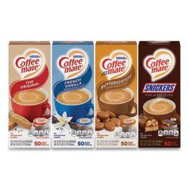 Coffee mate Creamers Mini Cups of Original, Snickers, Vanilla 0.38oz.
