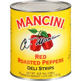 Mancini Roasted Red Peppers - Deli Strips - 102oz