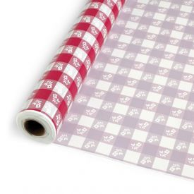 Red Gingham Banquet Table Roll, Plastic 100'