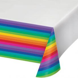 Rainbow Plastic Table Cover 54