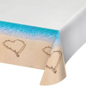 Beach Love Table Cover, Plastic 54