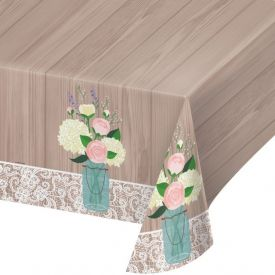 Rustic Wedding Plastic Table Cover 54
