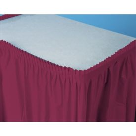 Burgundy Table Skirt Plastic 14'