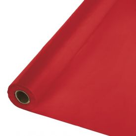 Classic Red Plastic Table Cover Banquet Roll, 250'