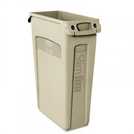 Rubbermaid Commercial Slim Jim  with Venting Channels, 23gal, Beige