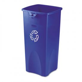 Rubbermaid Commercial Untouchable Square Recycling Container, 23 gal, Blue