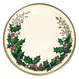 Winter Holly Paper Banquet Plates 10
