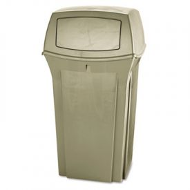 Rubbermaid® Commercial Ranger Fire-Safe Container, Square, 35 gal, Beige