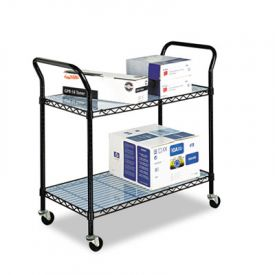 Safco® Wire Utility Cart, 2-Shelf, 43-3/4w x 19-1/4d x 40-1/2h, Black