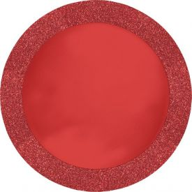Red Glitz Placemats Round with Glitter Border 14