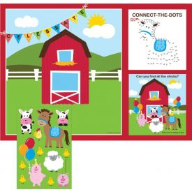 Farmhouse Fun Placemats with Kids Activity Stickers