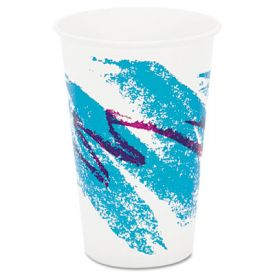 SOLO® Cup Jazz Waxed Paper Cold Cups, 16 oz, Tide Design