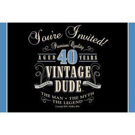 Vintage Dude Invitation, 40th