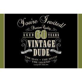 Vintage Dude Invitation, 60th