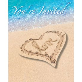Beach Love Invitation, Postcard w/ Attachment