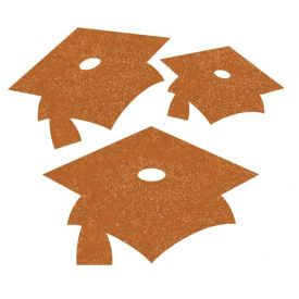 Sunkissed Orange Mortarboard Mini Glitter Cutouts