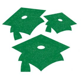 Emerald Green Mortarboard Mini Glitter Cutouts