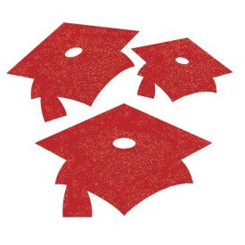 Classic Red Mortarboard Mini Glitter Cutouts