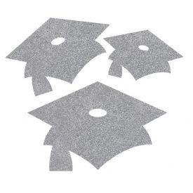 Shimmering Silver Mortarboard Mini Glitter Cutouts