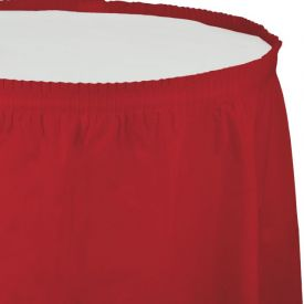 CLASSIC RED PLASTIC TABLESKIRT