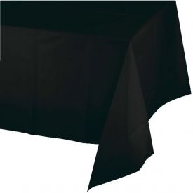 BLACK PLASTIC TABLECLOTH