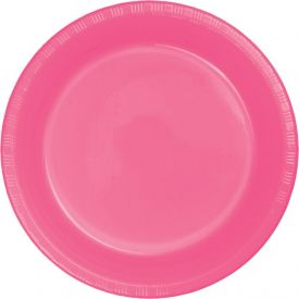 CANDY PINK PLASTIC BANQUET PLATES