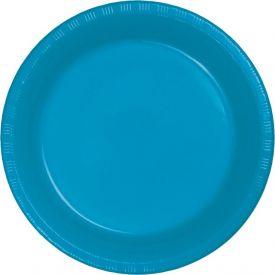 TURQUOISE BLUE PLASTIC BANQUET PLATES