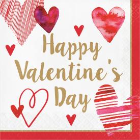 WATERCOLOR HEARTS VALENTINE'S DAY LUNCHEON NAPKINS