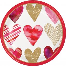 WATERCOLOR HEARTS VALENTINE'S DAY DESSERT PLATES
