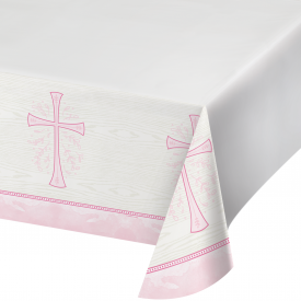 DIVINITY PINK PLASTIC TABLECLOTH
