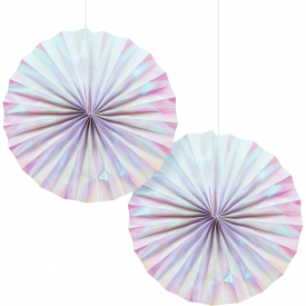 IRIDESCENT PARTY PAPER FANS