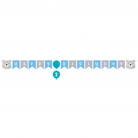 BEAR PARTY HAPPY BIRTHDAY BANNER WITH STICKER
