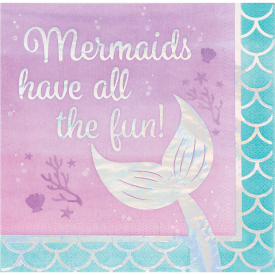 IRIDESCENT MERMAID SHINE 'ALL THE FUN' LUNCH NAPKINS 3-Ply