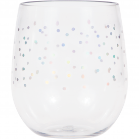 IRIDESCENT DOTS PLASTIC STEMLESS WINE GLASS BY ELISE