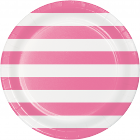 DOTS & STRIPES CANDY PINK PAPER PLATES