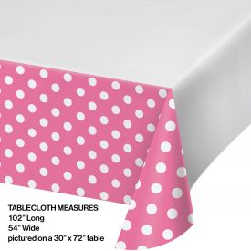 DOTS & STRIPES CANDY PINK PLASTIC TABLECLOTH