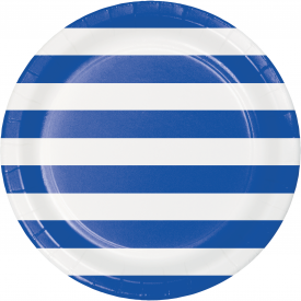 DOTS & STRIPES COBALT PAPER PLATES