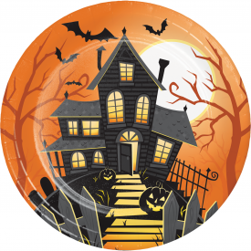 HALLOWEEN HAUNTED HOUSE PAPER PLATES