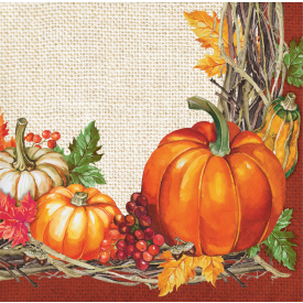 THANKSGIVING PLENTIFUL HARVEST BEVERAGE NAPKINS
