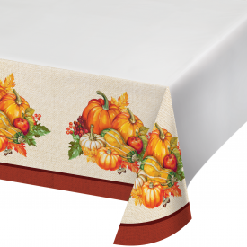 THANKSGIVING PLENTIFUL HARVEST PLASTIC TABLE COVERS 54x102