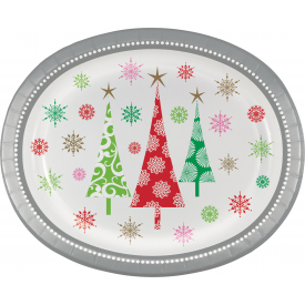 CONTEMPORARY TREES OVAL PLATES