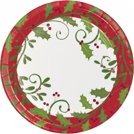 HOLIDAY HOLLY PAPER PLATES