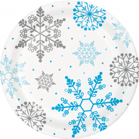 WINTER SNOWFLAKE PAPER DINNER PLATES 9