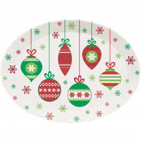 CHRISTMAS ORNAMENTS OVAL TRAY