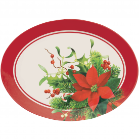 CHRISTMAS POINSETTIA OVAL TRAY
